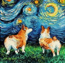 Welsh Corgi Butt Wall Art Print Cute Dog Starry Night van Gogh Decor by Aja