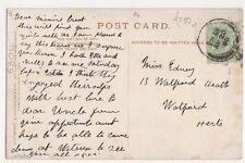 Miss Edney, 13 Watford Heath, Watford 1906 Postcard, B266