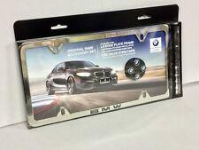 Genuine BMW Polished Slimline Plate Frame with Valve Stem Caps 82122456414
