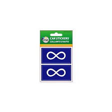 METIS BLUE NATIVE , SET OF 2 COUNTRY FLAG VINYL CAR STICKERS..1 3/8 X 2 3/4 INCH