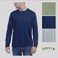 Orvis Men's Cascade Long Sleeve Crew Neck Shirt Gray Navy NWT