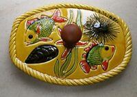 Ancien plateau à fromage céramique de Vallauris avec manche bois