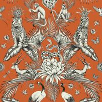 MENAGERIE ANIMAL LUXE WALLPAPER ORANGE BELGRAVIA 2002 - TROPICAL QUIRKY