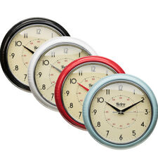 RETRO METAL VINTAGE WALL CLOCK HOME OFFICE HOTEL DINNING ROOM ANALOGUE BATTERY