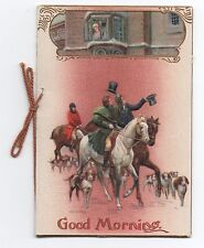 1910 Embossed New Years Booklet with Fox Hunt on Cover &  Burnside Poem