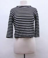 Free People We The Free Long Sleeve Striped Top Size L Cotton Blend