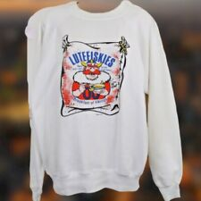 Vintage Womens XL Breakfast of Vikings White Crew Neck Sweater Made in the USA