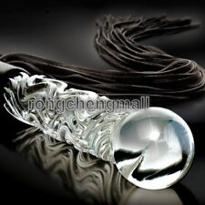 Glass Icicle Handle Leather Flogger restraint Whip Cat-O-Nine Tails Tassels hot