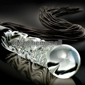Glass Icicle Handle Leather Flogger restraint Whip Cat-O-Nine Tails Tassels New