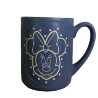 Minnie Mouse Disney Parks Authentic Blue Textured Ceramic Coffee Mug Cup