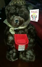 "Gund Zales Gift Box Plush Bear 17"" Make a Wish Engagement Jewelry Surprise #Q7"
