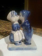 Vintage Delft Blue Holland Kissing Boy and Girl Figurine