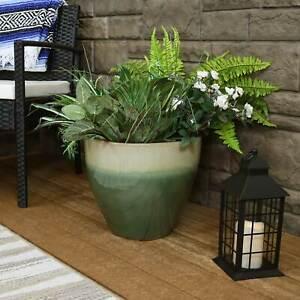 Sunnydaze Resort Glazed Ceramic Planter - Seafoam - 13-Inch