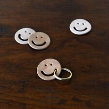 * Mr. Zhou * Smiley Face Tag Key Ring * Vegetable Leather Tag with Brass Ring *