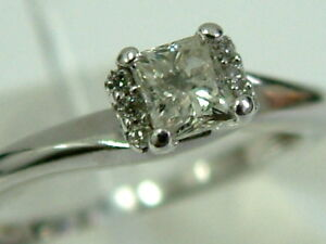 SWEET 9CT WHITE GOLD PRINCESS-CUT DIAMOND SOLITAIRE RING - 0.25CARATS