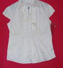 New White Blouse Women's Size M Merona Cap Sleeves Cotton