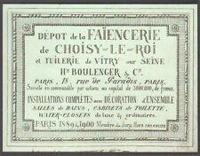 Faïencerie de Choisy-le-Roi. Tuilerie de Vitry sur Seine. Carte commerciale