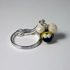 bee keyring cute handmade xmas gift glow in the dark glitter wings