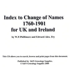 Index to Change of Names 1760-1901 for UK and Ireland