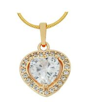 Beautiful Heart Shaped Clear Austrian Crystal Gold Plated Pendant