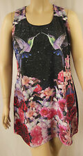 City Chic Black Multi Floral Humming Bird Shift Dress Size XS 14 BNWOT CC114