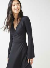 Brand New Ex Topshop Black Trumpet Sleeve Ribbed Jersey Wrap Dress Size 6-12
