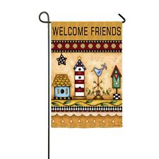 "Patriotic Let Freedom Ring "" Welcome Friends""  Folk Americana Sm Birdhouse Flag"