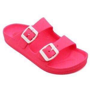 Womens Double Buckle Sandals Comfort Adjustable Strap EVA Rubber Slipper NWT