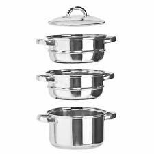 3Tier Stainless Steel Steamer Cooker Pot Set Pan Glass Lid 20CM Induction Safe