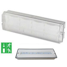 Slimline LED Bulkhead Maintained Emergency Fire Exit IP65 Lamp 3W Polycarbonate