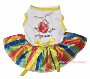 Happy Easter Bunny Egg Paint White Top Rainbow Striped Pet Dog Puppy Cat Dress