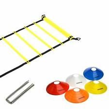 Fitness Health FH Speed Ladder 4m Trained Agility Ladder Bundle with 5 Sports Co