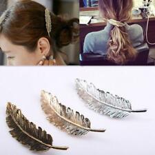 Women Cute Leaf Feather Hair Clip Hairpin Barrette Accessories Hair Bobby M3K4