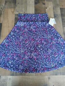 LuLaRoe Fushia Purple Bust Print Azure Stretch Flare Skirt Size M New with Tags