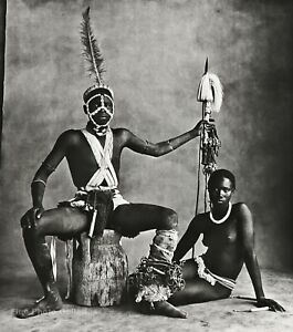 1969/84 IRVING PENN Old Africa Black Female Nude & Male Warrior Photo Art 12x16