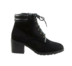 Womens Block Heel Boots Size 4 Extra Wide Fit Black Ankle Lace Up Evans RRP £47
