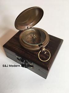 """Antique Compass Vintage Brass Nautical 2"""" Inch Wooden Teak Box Steampunk Retro"""