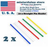 10Pcs 40Pin Male Single Row Straight Strip Pin Header PCB Panel 2.54mm 5 Colors