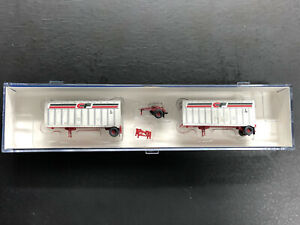 Athearn N-scale Two 28' Wedge Trailers w/Dolly, Consolidated, Weathered, IOB!