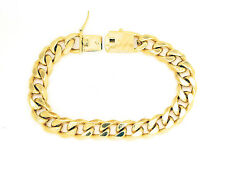 "14KT Gold Plated Cuban Link Bracelet 9"" X 12MM Square Clasp Box Lock"