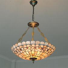 "21"" Classic Tiffany Shell Inverted Pendant Light Indoor Chandelier Lighting P706"
