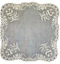 EXCEPTIONAL ANTIQUE AYRSHIRE FINE EMBROIDERY BRIDAL HANDKERCHIEF/HANKIE