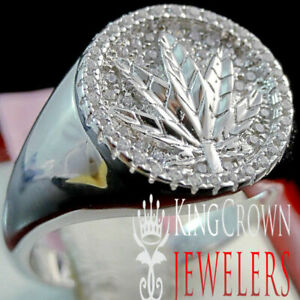 10K White Gold On Real Silver Simu Diamond Men's Marijuana Leaf Plant Ring Band