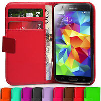 Plain Synthetic Leather Wallet Case Book Cover For Samsung Galaxy S5