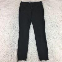 Old Navy Womens Rockstar Skinny Jeans 10 Long Black Wash Two Tone Stripe Raw Hem