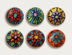 Furniture knobs set of 4 round hand painted patterned ceramic, made in India-NEW