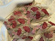"EMBROIDERED on SHEER 1.5"" Fan Flowers 1yd TRIM Designer"