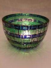 LARGE GLASS MOSAIC GLASS CANDLE HOLDER Made in India - Blue, Green & Silver