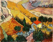 'Paesaggio con casa e aratore quadro - Stampa d''arte su tela telaio in legno'