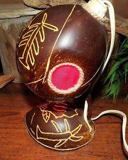1950's Hand Carved Elephants, Turtles & Palm Coconut Desk Lamp Original Works